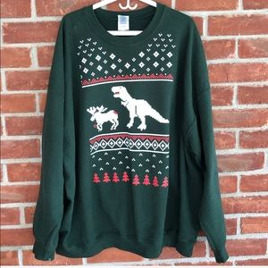 T-Rex and moose green ugly Christmas sweater